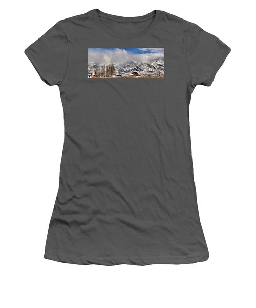 Women's T-Shirt (Junior Cut) featuring the photograph Teton Mountains Over Mormon Row by Adam Jewell