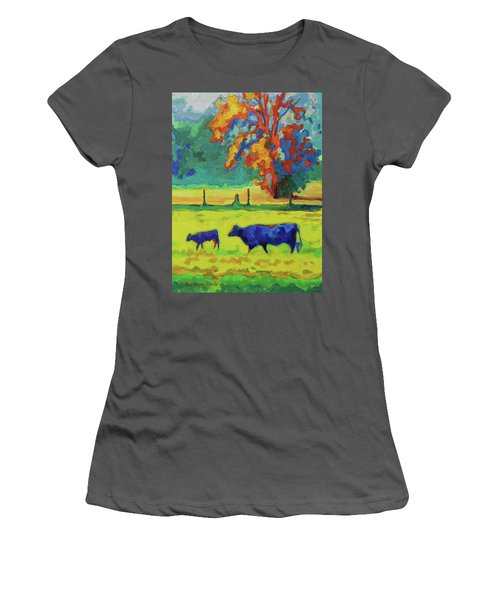 Texas Cow And Calf At Sunset Print Bertram Poole Women's T-Shirt (Athletic Fit)