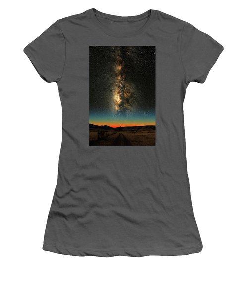 Women's T-Shirt (Junior Cut) featuring the photograph Texas Milky Way by Larry Landolfi