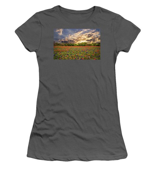 Texas Wildflowers Under Sunset Skies Women's T-Shirt (Athletic Fit)