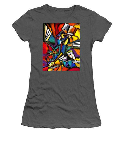 Women's T-Shirt (Junior Cut) featuring the painting The Art Of Learning by Leon Zernitsky