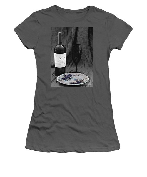 The Art Of Wine And Grapes Women's T-Shirt (Junior Cut) by Sherry Hallemeier