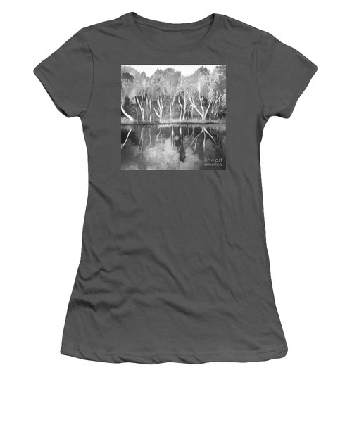 Women's T-Shirt (Junior Cut) featuring the painting The Black And White Autumn by Art Ina Pavelescu