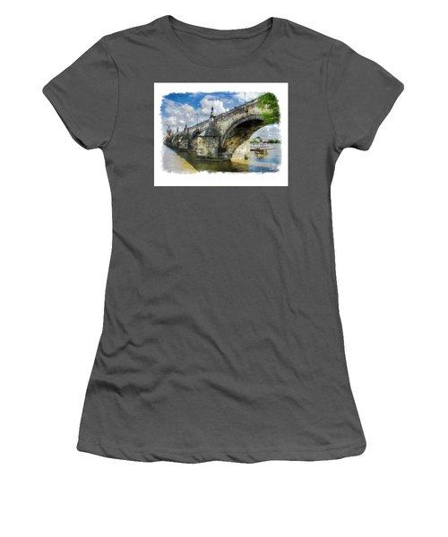 The Charles Bridge - Prague Women's T-Shirt (Junior Cut) by Tom Cameron