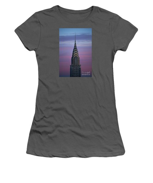 The Chrysler Building At Dusk Women's T-Shirt (Junior Cut) by Diane Diederich