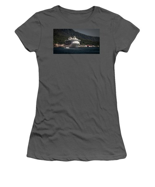 Women's T-Shirt (Junior Cut) featuring the photograph The Cruise Ship And The Plane by Timothy Latta