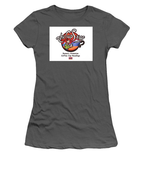 Women's T-Shirt (Junior Cut) featuring the painting The Cup Says Logo by Renee Womack