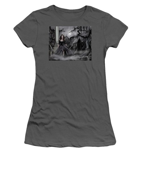 Women's T-Shirt (Junior Cut) featuring the painting The Dark Caster Comes by James Christopher Hill