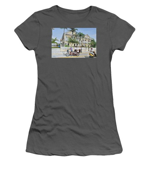 Women's T-Shirt (Junior Cut) featuring the painting The Duval House, Key West, Florida by Bob George