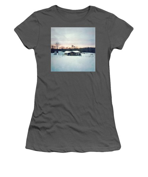 The Farm In Snow At Sunset Women's T-Shirt (Athletic Fit)