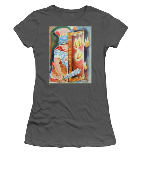 Women's T-Shirt (Junior Cut) featuring the painting The Fiery Darts Of The Evil One 3 by Kip DeVore