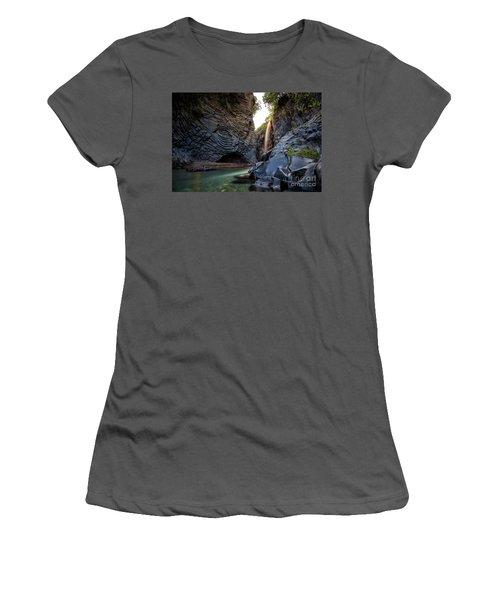 The Golden Waterfall Women's T-Shirt (Junior Cut) by Giuseppe Torre