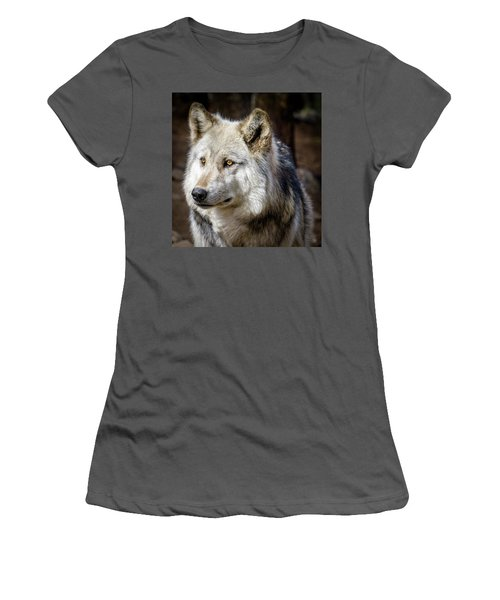 Women's T-Shirt (Junior Cut) featuring the photograph The Gray Wolf by Teri Virbickis