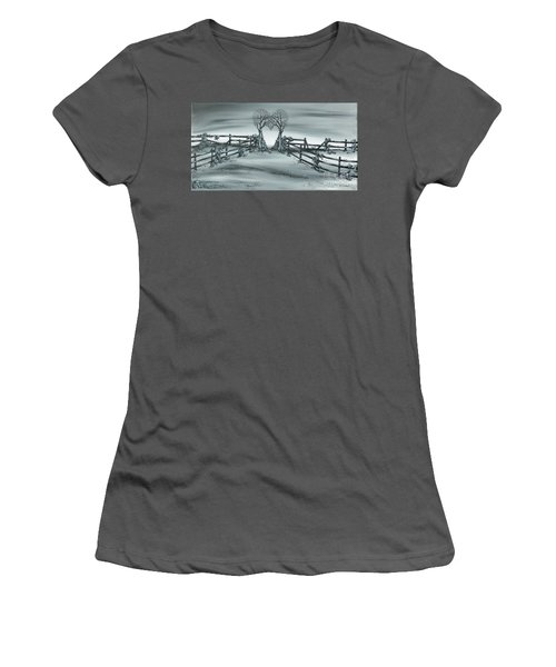 Women's T-Shirt (Junior Cut) featuring the painting The Heart Of Everything by Kenneth Clarke