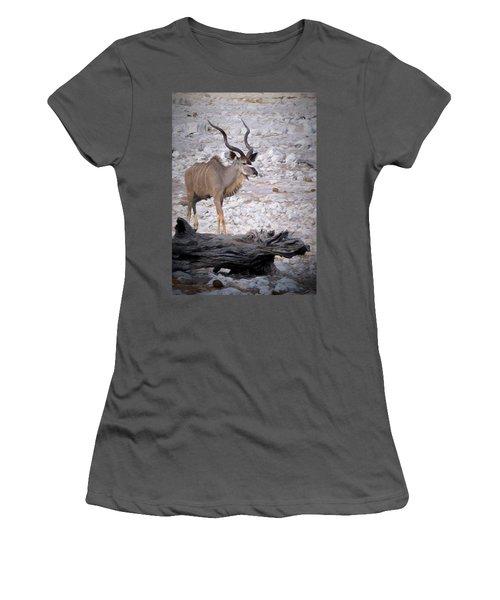Women's T-Shirt (Junior Cut) featuring the digital art The Kudu In Namibia by Ernie Echols