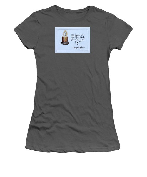 Women's T-Shirt (Junior Cut) featuring the painting The Light Which Shines From Within by Elizabeth Robinette Tyndall