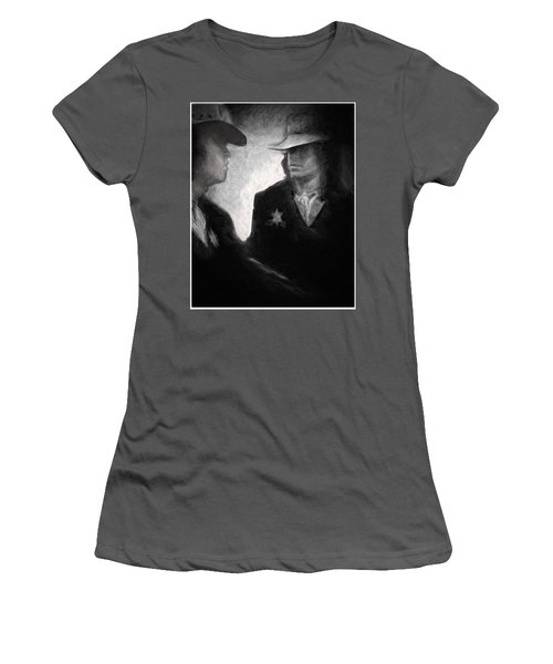 Women's T-Shirt (Junior Cut) featuring the drawing The Looking Glass by Michael Cleere