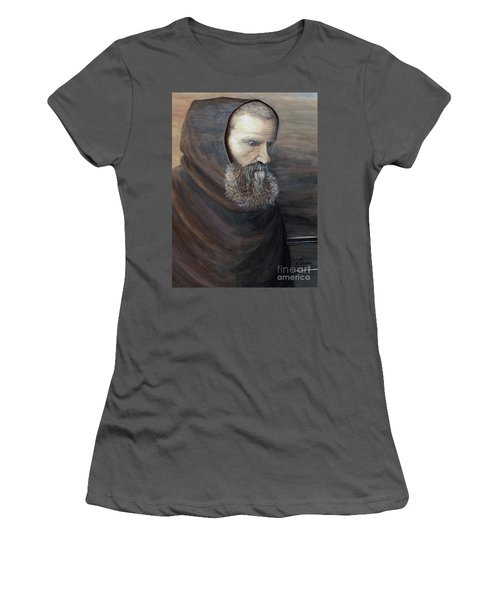 Women's T-Shirt (Junior Cut) featuring the painting The Monk by Judy Kirouac