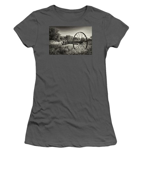 The Old Mower 2 In Black And White Women's T-Shirt (Athletic Fit)