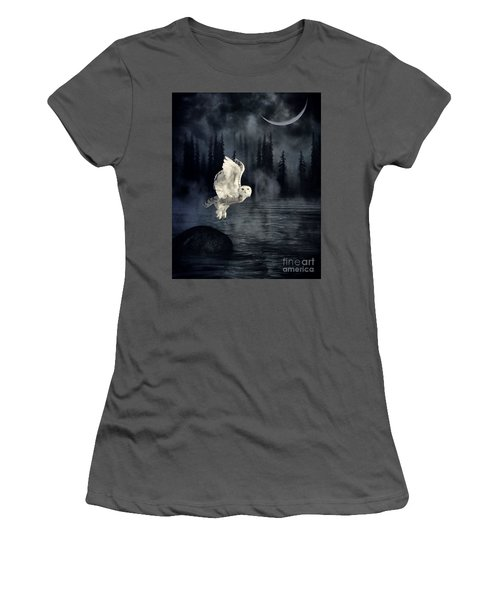 Women's T-Shirt (Junior Cut) featuring the photograph The Owl And Her Mystical Moon by Heather King