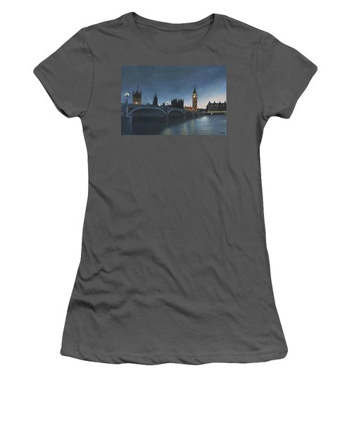 The Palace Of Westminster London Oil On Canvas Women's T-Shirt (Athletic Fit)