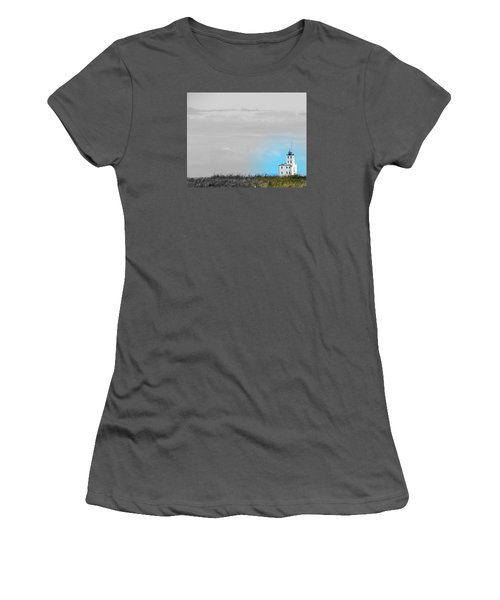 The Powerful  Lighthouse On Lake Michigan Women's T-Shirt (Athletic Fit)