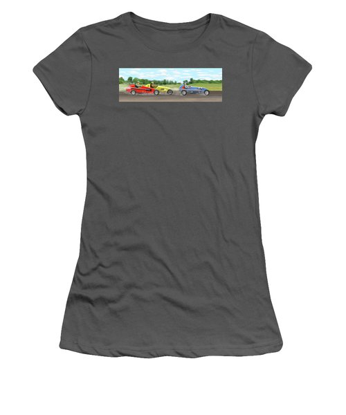 Women's T-Shirt (Junior Cut) featuring the digital art The Racers by Gary Giacomelli