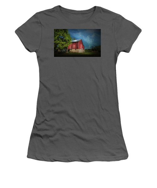Women's T-Shirt (Junior Cut) featuring the photograph The Red Barn by Marvin Spates