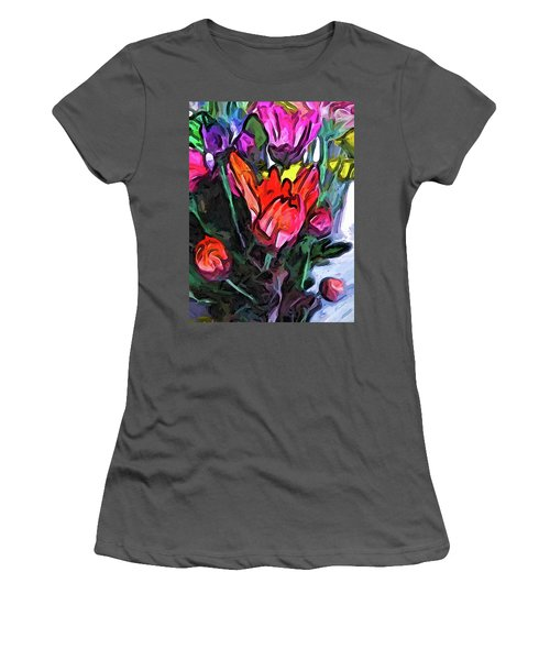 The Red Flower And The Rainbow Flowers Women's T-Shirt (Athletic Fit)