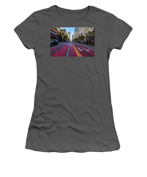 Women's T-Shirt (Junior Cut) featuring the photograph The Red Path by Darcy Michaelchuk
