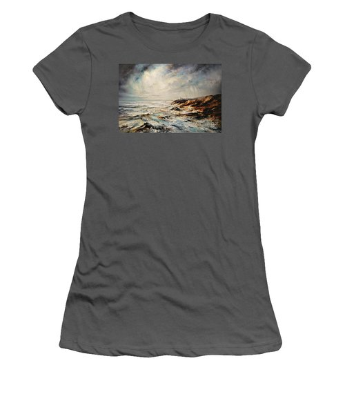 Women's T-Shirt (Junior Cut) featuring the painting The Sea  by AmaS Art