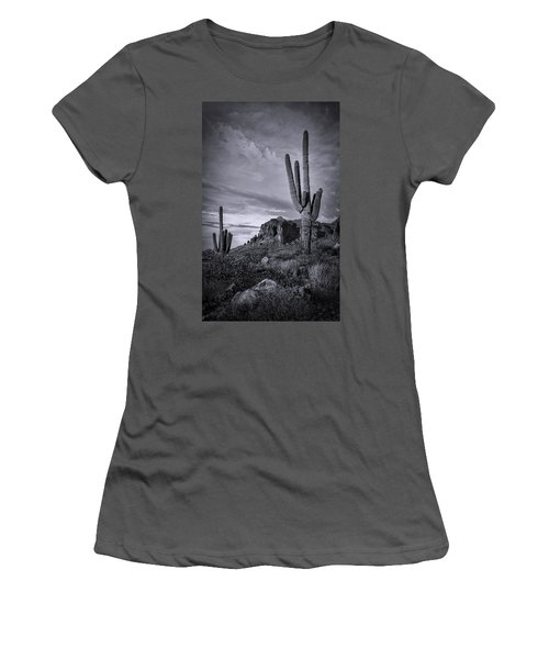 Women's T-Shirt (Athletic Fit) featuring the photograph The Sentinels Of The Supes In Black And White  by Saija Lehtonen