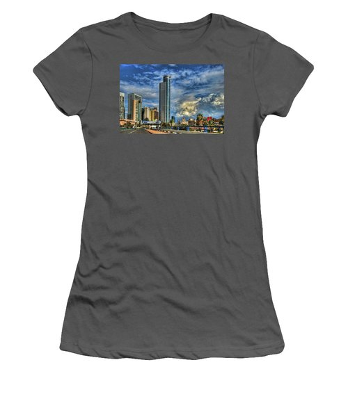 Women's T-Shirt (Junior Cut) featuring the photograph The Skyscraper And Low Clouds Dance by Ron Shoshani