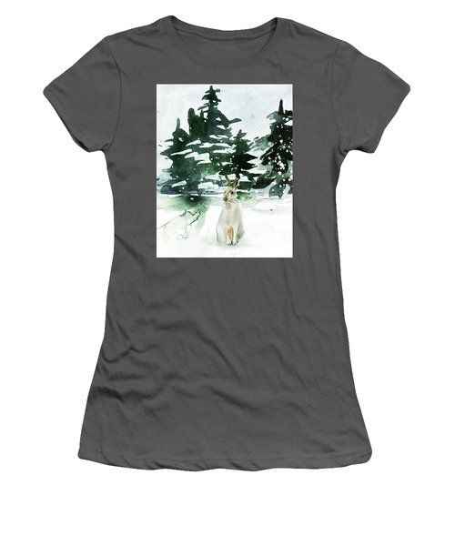 Women's T-Shirt (Junior Cut) featuring the painting The Snow Bunny by Colleen Taylor