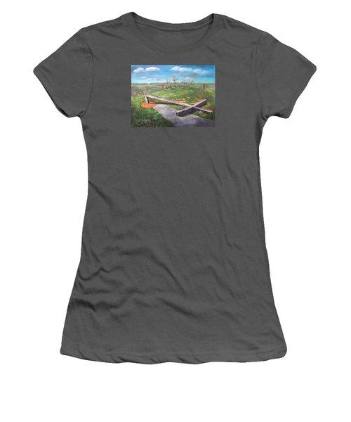 Women's T-Shirt (Junior Cut) featuring the painting Millsfield Tennessee Steel Cross by Randol Burns