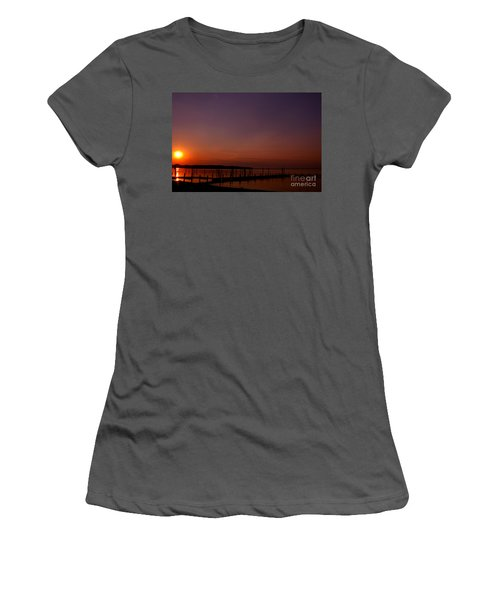 The Sun Sets Over The Water Women's T-Shirt (Junior Cut) by Clayton Bruster