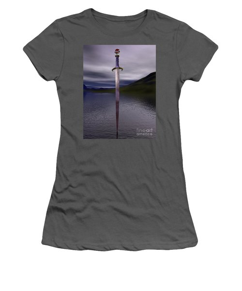 The Sword Excalibur On The Lake Women's T-Shirt (Athletic Fit)