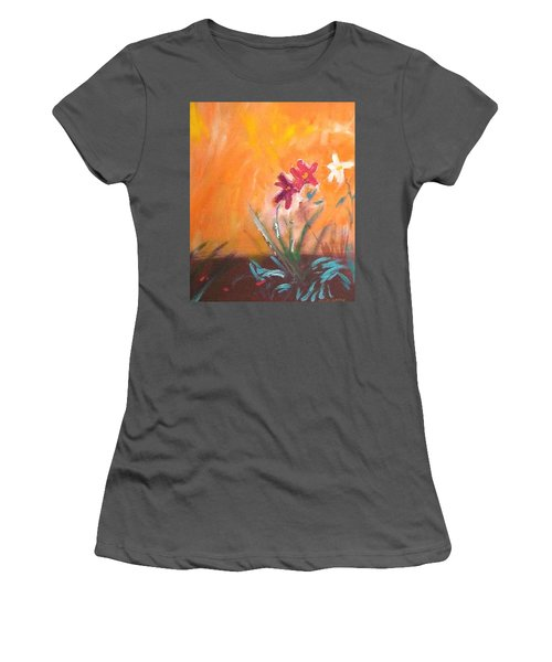 Women's T-Shirt (Junior Cut) featuring the painting The Three Daisies by Winsome Gunning