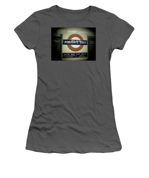 Women's T-Shirt (Junior Cut) featuring the photograph The Tube Aldgate East by Christin Brodie
