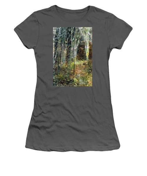Women's T-Shirt (Junior Cut) featuring the painting The Underbrush by Frances Marino