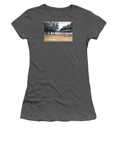 Women's T-Shirt (Junior Cut) featuring the painting The View From Switchboard by Katherine Miller