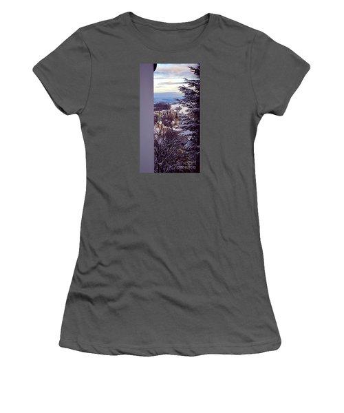 Women's T-Shirt (Junior Cut) featuring the photograph The Village - Winter In Switzerland by Susanne Van Hulst
