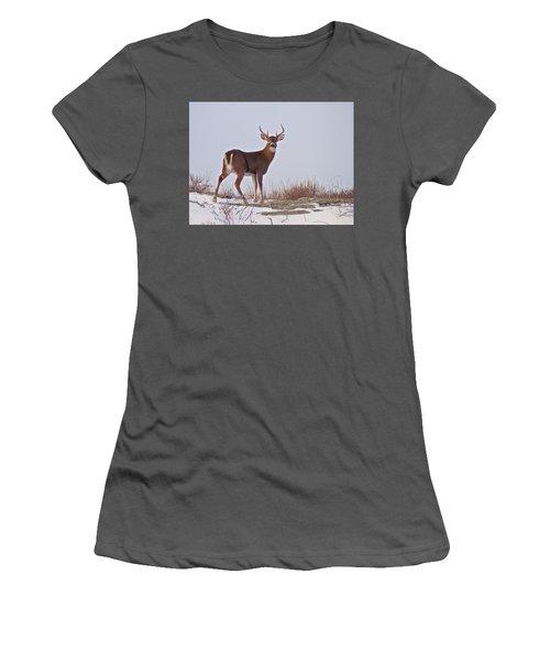 The Watchful Deer Women's T-Shirt (Junior Cut) by Nancy De Flon