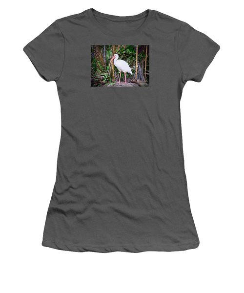 Women's T-Shirt (Junior Cut) featuring the painting The White Ibis by Judy Kay