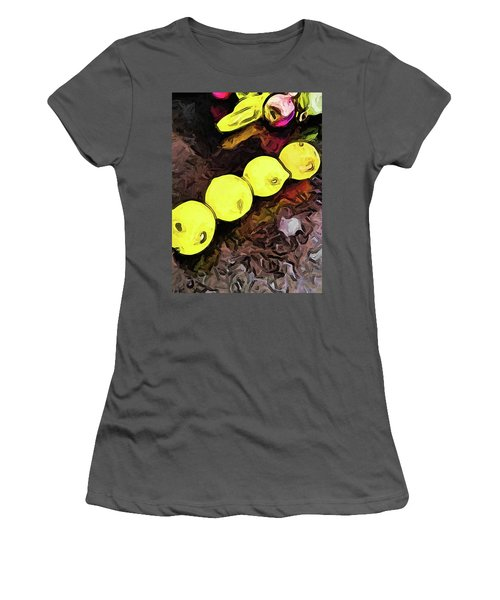 The Yellow Lemons In A Row And The Pink Apple Women's T-Shirt (Athletic Fit)