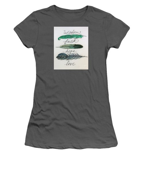Women's T-Shirt (Junior Cut) featuring the painting These Feathers by Elizabeth Robinette Tyndall