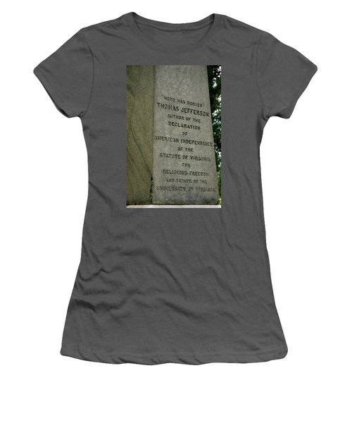 Thomas Jefferson Tombstone Close Up Women's T-Shirt (Athletic Fit)