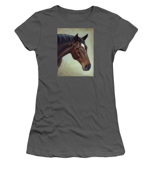Thoroughbred Horse, Brown Bay Head Portrait Women's T-Shirt (Athletic Fit)