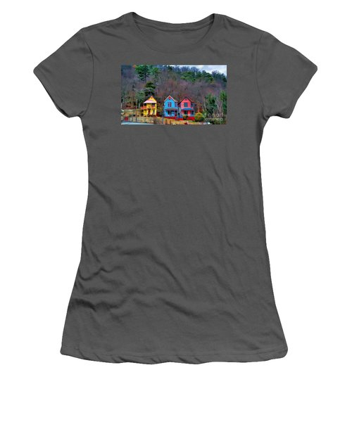 Women's T-Shirt (Junior Cut) featuring the photograph Three Houses Hot Springs Ar by Diana Mary Sharpton