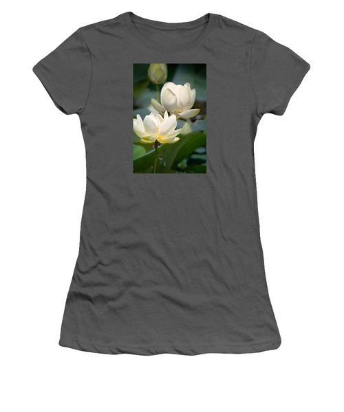 Women's T-Shirt (Athletic Fit) featuring the photograph Three Lotus Flowers by Mary Almond